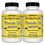 2 Vitamina D3 10.000 Ui 360 Cáps Softgels Healthy Origins