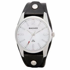 Relógio Backer Prata E Pulseira Em Couro Preto - 3186122m
