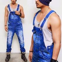 Macacão Jardineira Masculina Jeans Europeu New 2017