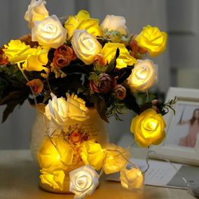 Cordão Led Rosa De Eva Luminária 12 Flor Decoração Festa