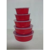 Conjunto Plástico 5 Pç.marmita Vasilha Higiênica Prat. Tampa