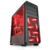 Gabinete Gamer Sama Jax-09 Negro Rojo 120mm Led Red Fan X 4