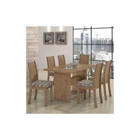 Conjunto Mesa Sala Jantar Lopas 6 Cadeiras Samara Carvalho
