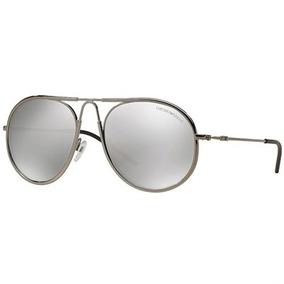Óculos De Sol Emporio Armani Round Metal Cinza Lente Cinza