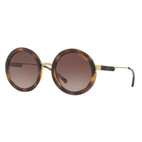 Óculos De Sol Emporio Armani Round Havana Lente Marrom