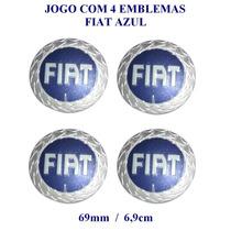 Jogo Emblema Fiat Azul Aluminio 69mm P/calota De Roda Liga