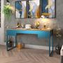Lamina dourada com Azul Petroleo