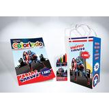 50 Kit Colorir Capitão América Revista Sacola Giz Lembrança