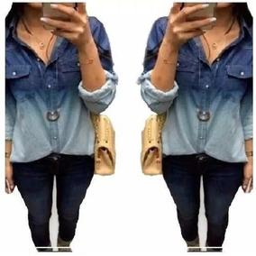 Camisa Blusa Feminina Jeans 2 Cores/ Degrade 2017