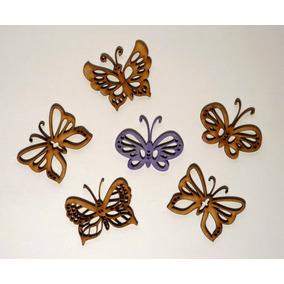 10 Mariposas 6 Cm Ancho Fibrofacil Caladas