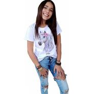Blusa Feminina Infantil Cavalo Rosas Branco Country Tshirt