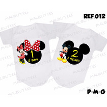 Body Gemeos Kit Com 2 Bodies Para Bebês Irmãos Mickey Minnie