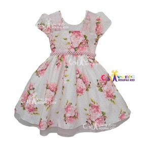 Vestido Festa Infantil Floral Daminha Tam 04 Ao 12 Promoção