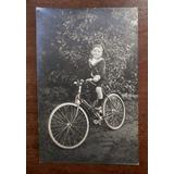 Foto Postal Antigua Niño En Bicicleta Marinerito Circa 1935