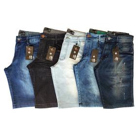 Kit Com 5 Bermudas Masculinas Jeans Slim Com Lycra - Atacado