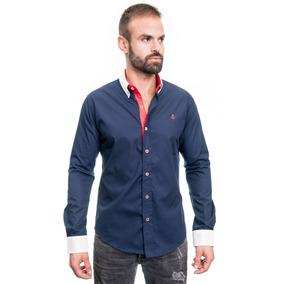 Camisa La C Azul Marino Parche En Codos Rojo Slim Fit.