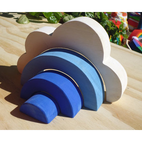Nube De Madera Encastrable Waldorf Montessori Albura Toys