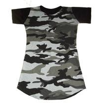 Vestido Camiseta Longline Camuflada Feminina Oversized