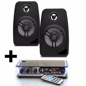 Kit Som Ambiente 2 Caixa Acustica Preta C/ Amplificador Bt