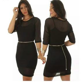 Vestido Tule Transparente Transparencia 2 Peças Mais Cinto