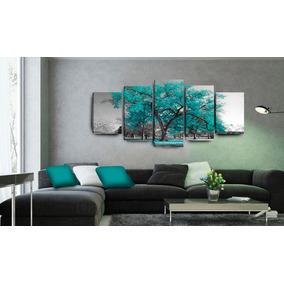 Quadro Para Sala Árvore Azul Turquesa 5 Peças 70x162