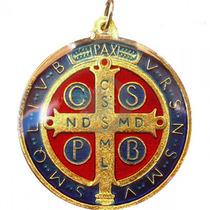10 Unidades Medalha De São Bento Banho A Ouro Atacado