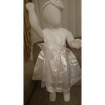 Vestido Bebê Festa Aplicações Tecido Forrado Criança Branco