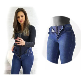 Calça Super Lipo 986 Básica Azul Jeans Elegante Sawary Lycra