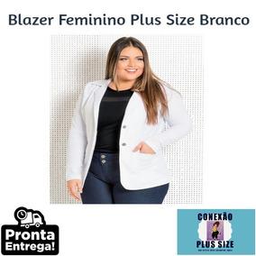 Blusa, Blazer Casaco Jaqueta Branco Plus Size - B9505