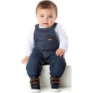 Roupa De Bebê Jardineira Cotton Jeans Longo Inverno