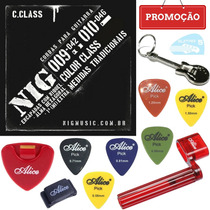 Kit A10 + Jogo De Cordas 09 P Guitarra Color Preto Nig N1630