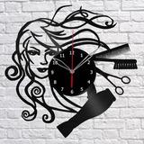Barber Salão De Beleza - Relógio De Parede - Disco De Vinil