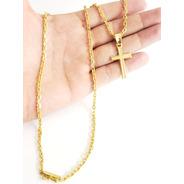 Cordão Cadeado 3mm Com Pingente Crucifixo Banhado A Ouro