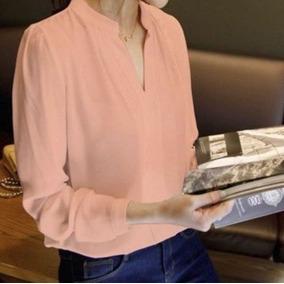 Blusa Camisa Mujer Elegante Manga Larga Cuello Mao Casual