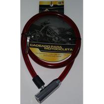 Cadeado Cabo Aço 13mm Encapado Moto Estepe Portão Vermelho