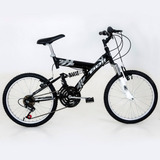 Bicicleta Aro 20 Full Suspension V-brake 18v Polimet Preta