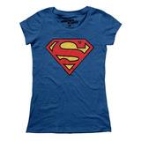 Playera Mascara De Latex Superman Logo Mujer