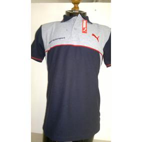 Camisa Playera Tipo Polo, Color Negro Con Gris Marca Puma.