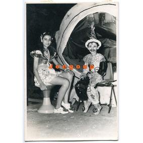 Antigua Foto Niño Y Joven Mujer Con Disfraz De Carnaval