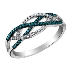 Branco E Azul Anel De Diamante 1/5 Quilates (ctw) Em 10k Our