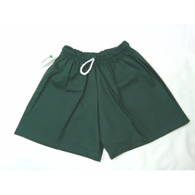 Short Gabardina Blanco Verde Bordo Niño Colegial Escolar