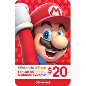 Cartão Nintendo 3ds Switch Wii U Cash Eshop Card 20 Dolares