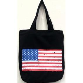 Bolsa Sacola Usa Eua Bandeira Estados Unidos Silk Alça Zíper