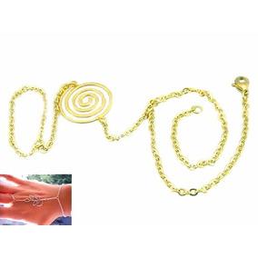 Pulsera Anillo Árabe De Acero Inox Dorado Diseño Espiral