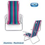 Cadeira Praia Reclinável 8 Posições Alumínio Listrada Mor