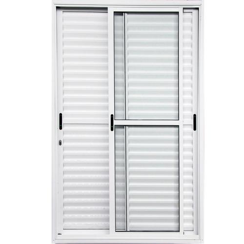 Porta Balcão De Aluminio Branco 210x150 3 Folhas Móveis L-25