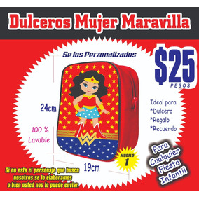 Mochilitas Mujer Maravilla Fiestas Infantiles $25 Pesos