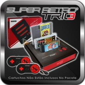 Console Snes Nes Mega Drive + 2 Controle Retro Trio