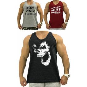 3 Regata Masculina Cavada Camiseta Camisa T-shirt Blusa Slim