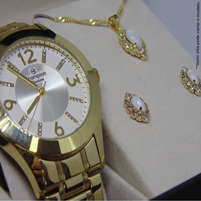 Relógio Champion Feminino Banhado Cn29418h + Kit Brinde Vip